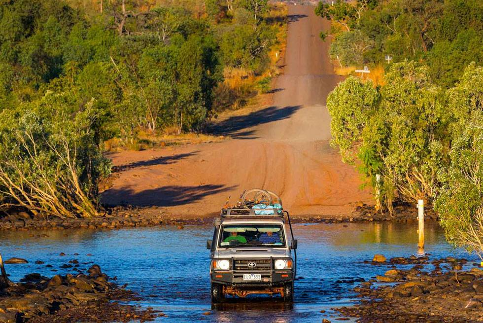 Driving through the Pentecost River